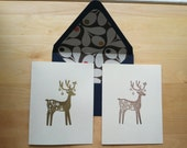 Brown Acorn-Lined Reindeer Holiday Cards (set of 5)