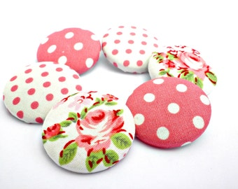 Pink fabric buttons - Polka dots buttons -Size 36 22mm - White pink polka dots fabric buttons -Covered fabric buttons -Vintage buttons
