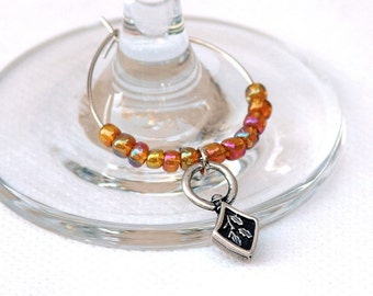 Unique Wine Charm, Set of 6 wine charms with orange beads, Wine jewelry, Holiday gift, Hostess gift, (11027)