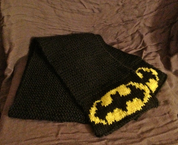 Knitting Pattern Batman Scarf : Boys Batman Scarf // Superhero Scarf for Kids // Child