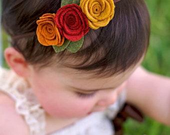Fall felt flower headband - newborn through adult - pumpkin, copper and mustard seed