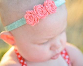 Felt flower headband - coral and aqua headband - glitter headband