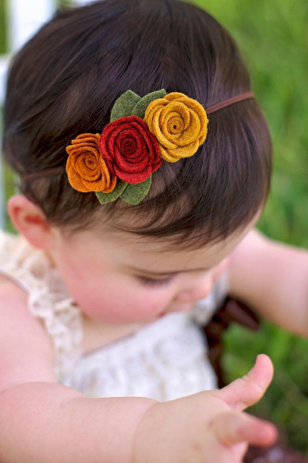 Fall Felt Flower Headband Baby Toddler Girls Headband