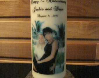 """Personalized  Anniversary 8"""" Pillar Candle Made to Order Using Your Photo Image."""