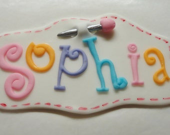 LALALoopsy Inspired Edible Fondant Name Plaque