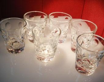 Shot Glasses Set of 6 Cut Crystal Vintage Circles Dots
