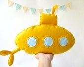 "Stuffed toy ""Yellow submarine"", Felt submarine, Nursery decor, Baby nursery decor, Kids art, Kids room decor,"
