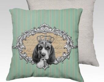 Basset hound dog cushion cover made to order - basset pillow- dog lover gift- pet pillow-pet decor-puppy gift-puppy pillow-puppy cushion.