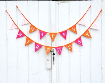 SUPER SALE! Orange and Pink Happy Birthday  Fabric Pennant Banner