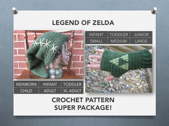 Crochet Stitches Legend : Legend of Zelda Crochet Pattern Super Package! Link hat and Triforce ...