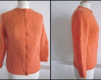 Orange Mohair Vintage 50s 1950s Cardigan Sweater / fits S to M
