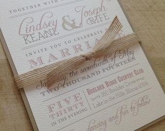 Wedding Invitation Suite Sample // Rustic and Vintage // Simple and Elegant Invite // Twine  and Burlap // Sample Set