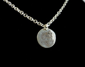 """Sterling silver round Wander pendant on a 18"""" long chain"""