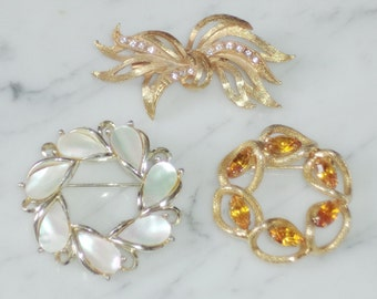 Vintage Rhinestone Leaf Bunch, Amber, Mother of Pearl Wreath Brooches