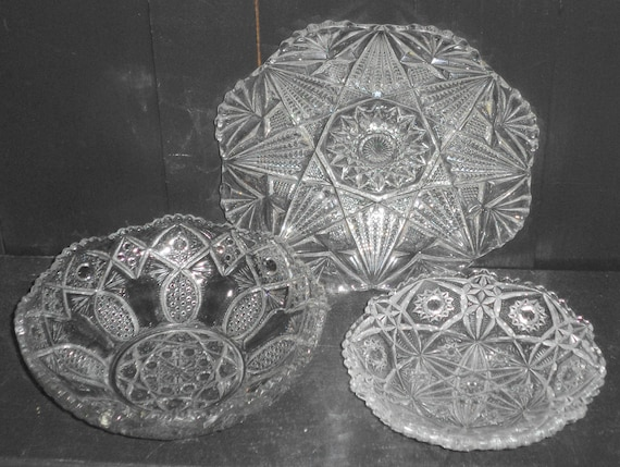 3 Vintage Pressed Glass Pinwheel Hobstar Pattern Serving