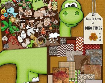 Digital kit DINO TIMES, dinossaurs, pre-history, stone age, nature, flintstones