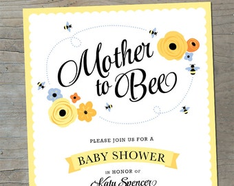Mother to Bee Baby shower invitation
