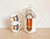 Vintage Vernon Ware Metlox Mesa Southwestern Tea Pot with 2 Cups, Hand Painted Coffee Pot, California