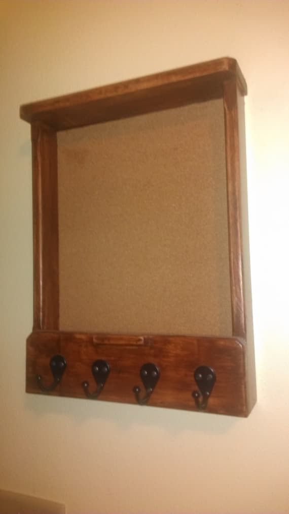 Items similar to brown antique stained mail and key holder for Cork board with hooks
