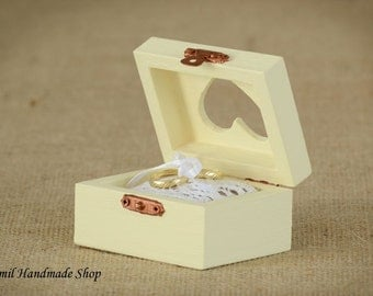 Ring Box, Ring Pillow,  Ring Bearer, Wooden Box, Rustic, Vintage style,