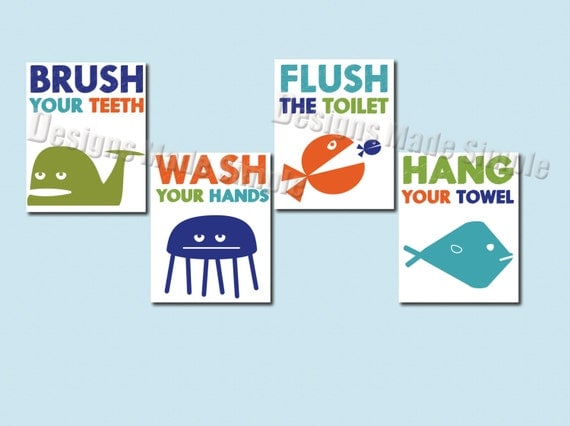 Plenty Of Fish In The Sea Bathroom Signs Set Of 4 Wash