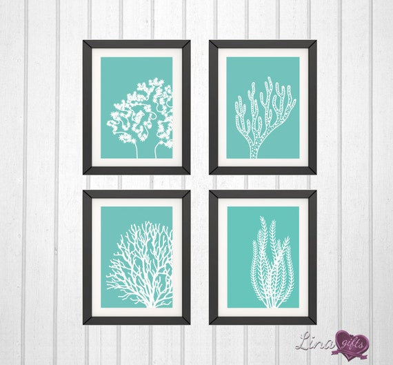 Underwater coral and seaweed home decor prints set of 4 for Coral decorations for home