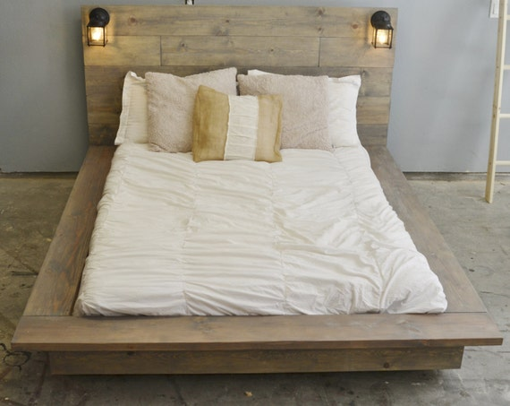 Sale 20 off floating wood platform bed frame with lighted by knotsandbiscuits etsy - Backlit headboard ...
