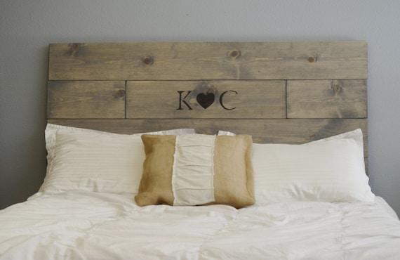 rustic wood headboard with custom wood burned initials and, Headboard designs