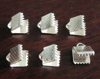 50pcs Silver Plated Crimp Bead Leather Fastener Clips 6mm