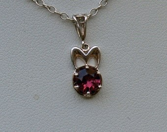 Sterling Silver Necklace set with one Genuine Rose Garnet stone