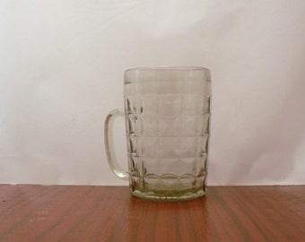 Vintage Soviet Beer Mug. Glass Mug. Kitchen Home Decor. Houseware. Glassware.