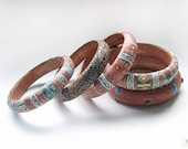 Africa (N1-N5) Polymer clay Bracelets in terracotta, blue, green, brown and light yellow colors - ViMhandmade