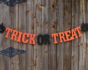 Halloween Banner, Trick or Treat Banner, Halloween Home Decor, Letter Banner, Halloween Garland, Halloween Party Decor, Halloween Photo Prop