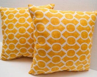 Yellow and White Sydney Print Decorative Throw Pillow - Couch Pillow - Geometric Print - Yellow Pillow