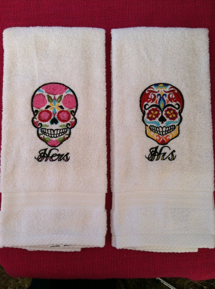 Sugar Skull His & Hers Hand Towel Set by BlackCatEmbroideryCo