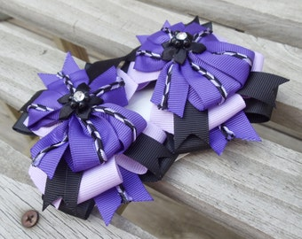 Pair of Purple & Black Boutique Hair bows with Clips