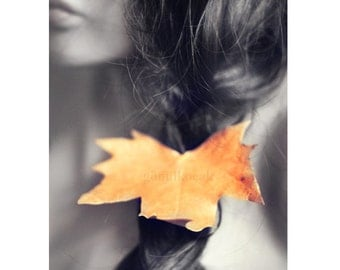 Autumn wall art fall sadness wall decor  leaves photography Orange Autumn rustic women gift ideas home decor print 8x10