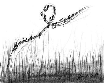 Pencil Drawing Print - How Sweet The Sound - Day 305