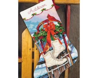 "Needlepoint Christmas Stocking KIT Ice Skates Dimensions 16"" Long NEW -Free US Shipping!!!"