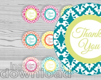 thank you damask round tags 2.5 inches - printable party circles - editable text - summer colors - instant download