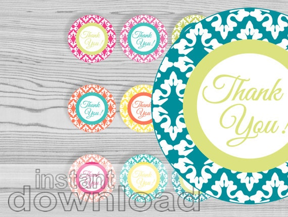 thank you damask round tag, 2 1/2 in, printable, party circles, summer colors, instant download