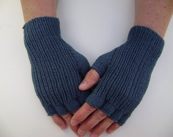 Half-Finger Gloves in Deep Blue. Hand Warmers. Mittens.Stretchy Gloves. Hand-Knit.