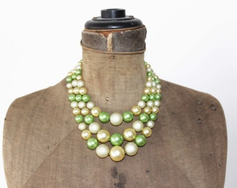 Vintage Green and Gold Necklace -  Green Multi Strand Necklace - Vintage Green Triple Strand Necklace