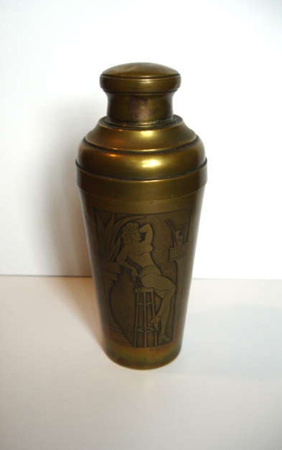 Rare Cocktail Shaker Featuring Part Undressed Lady