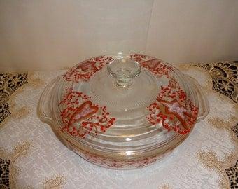 Primitive Hand Painted Vintage Fire King Casserole Dish With Lid,, Primitive Decor, Kitchen Decor,,