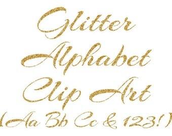 Gold Alphabet Clipart, Gold Glitter Letters, Numbers Clipart, Cursive Alphabet, Scrapbook Elements, Instant Download - DIMAGE00033
