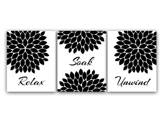 Bathroom Wall Art Relax Soak Unwind Instant Download Bath