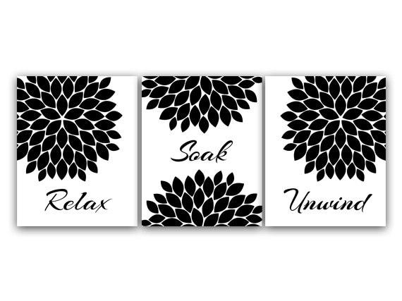 Black and white damask design set of four 11x14 art prints soak relax unwind enjoy bathroom decor matches damask bathroom curtains u0026 decor