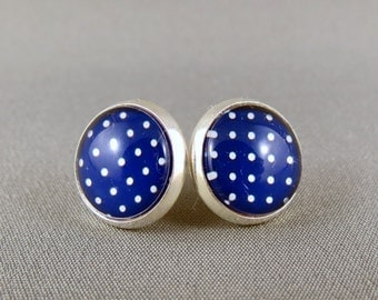 Stud Earrings Glass Cabochon - Navy and White Spots