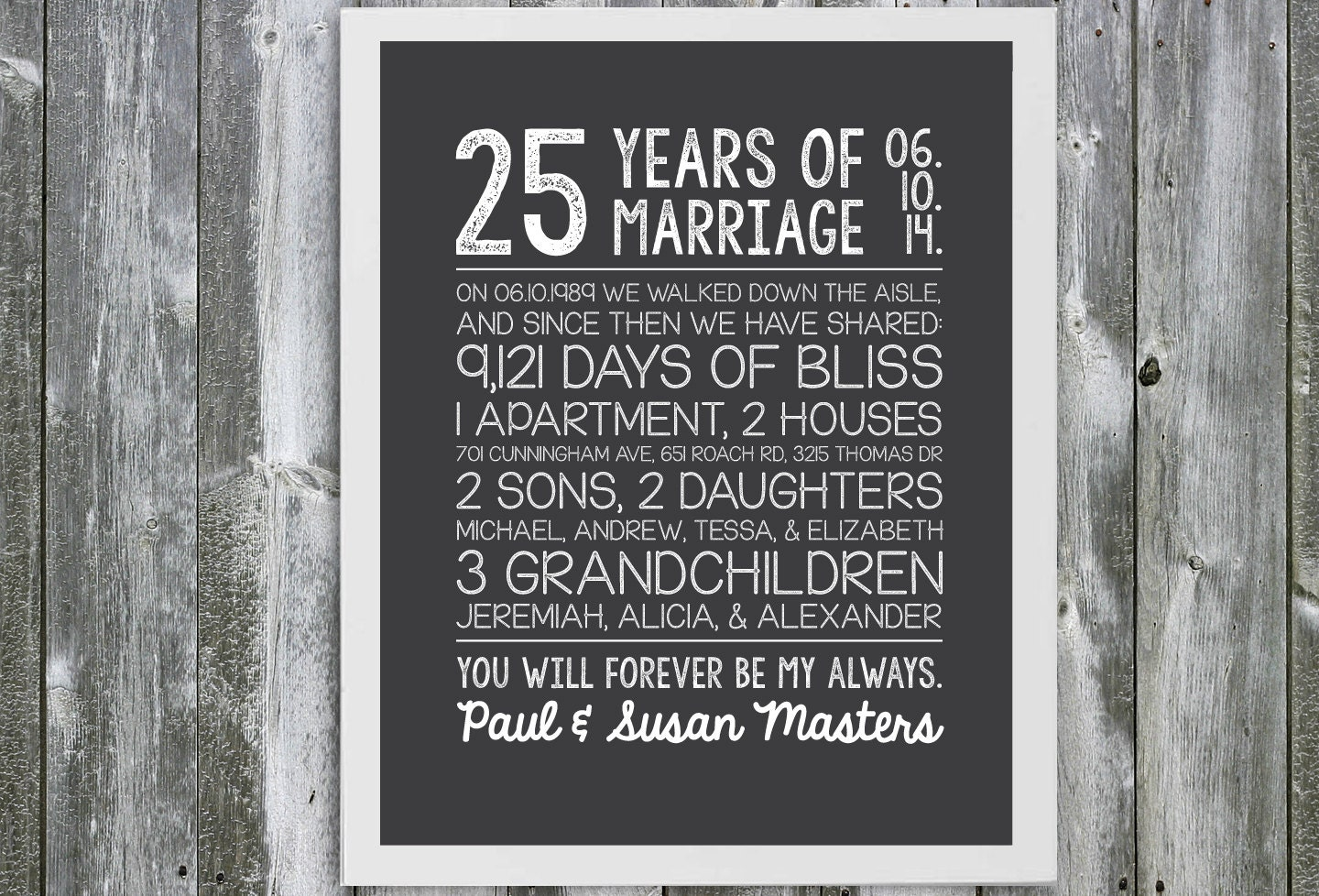 What Is The 25th Wedding Anniversary Gift: Customizable Anniversary Gift Marriage Stats 25 Year